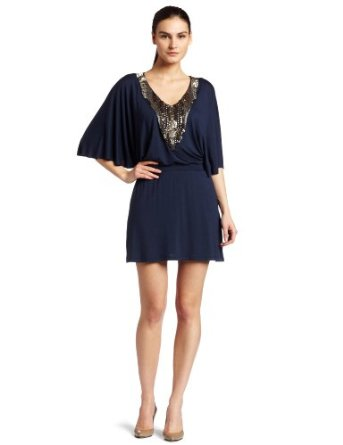 Bordeaux Womens Embellished Flutter Sleeve Dress