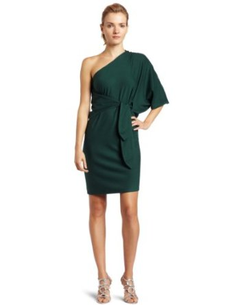 Halston Heritage Women's One Shoulder Jersey Wrap Dress