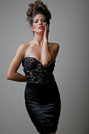 New Sexy Satin Strappy Lace Black Corset Cocktail Dress