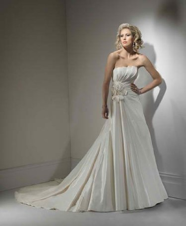 Ivory Taffeta Wedding Gown with Flowers