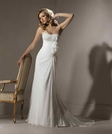 White Gathered Chiffon Wedding Gown