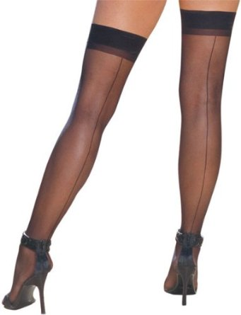 Black Sheer Thigh High Back Seamed Stockings