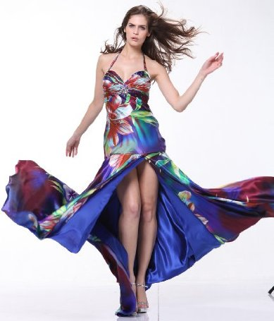Printed Satin Halter High Slit Long Ball Gown