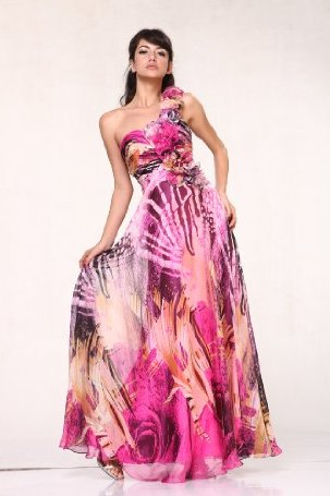 Print Chiffon Rosettes One Shoulder Pageant Evening Prom Dress