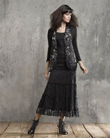 Spiegel Long Tiered Stretch Lace Skirt by Newport News
